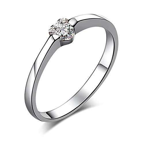 """CPSLOVE Anillo pareja de plata 925, Anillo de bodas, Anillo para hombre y mujer con diamante corazón,""""Infinite love"""", Anillo de compromiso"""