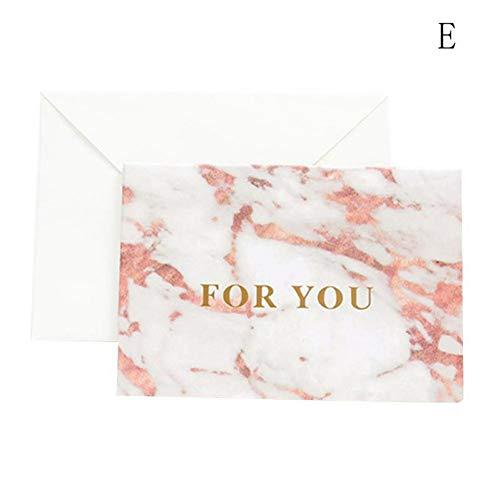WSJKHY 1 stuk marmer textuur mode bronzing wenskaart uitnodiging huwelijk dankzij verjaardagskaart papier geschenk bruiloft bedankkaarten E