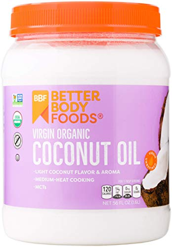 BetterBody Foods Organic Virgin Coconut Oil  Cold-Pressed and Unrefined Coconut Oil, Medium Temperature Cooking Oil, Great Alternative To Butter, Light Coconut Flavor and Aroma, 56 Ounce