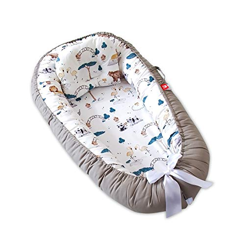 SONARIN Réducteur Lit bébé,cale Bebe pour lit Cocon Bebe Matelas,100% coton,avec oreiller,Portable,Respirant Baby Nest(Gris)