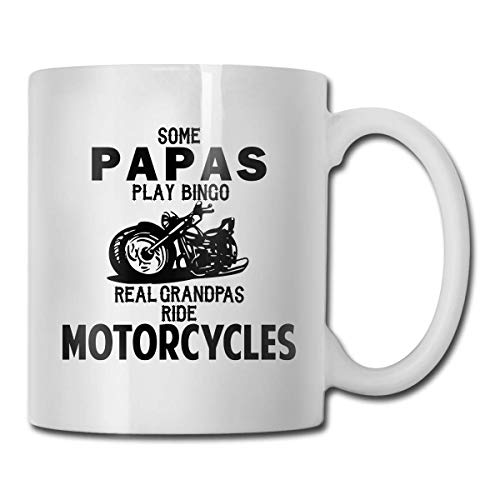 WYYCLD Some Papas Play Bingo Real Ride Motorcycles Coffee Mugs Ceramic Coffee Cups with Large C-Handle Funny Coffee Mug Cool Coffee Tea Cup 11 Ounces for Family and Friend
