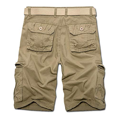 IDEALSANXUN Men's Multi-Pockets Cargo Shorts Casual Loose Fit Twill Short Cargo Pants (32, Khaki)