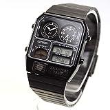 [シチズン]CITIZEN アナデジテンプ ANA-DIGI TEMP 復刻モデル 腕時計 ブラック JG2105-93E