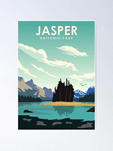 Jasper National Park Vintage Travel Art Poster - Para citas inspiradoras, impresiones motivadoras, regalo para mujeres, regalo para hombres, oficina, decoración de la habitación de dormitorio.