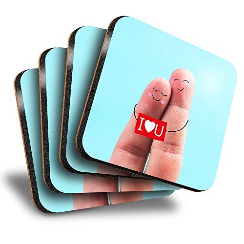 Destination Vinyl ltd Great Posavasos (juego de 4) cuadrados – Cute I Love You Fingers Día de San Valentín bebida brillante posavasos/protección de mesa para cualquier tipo de mesa #16193