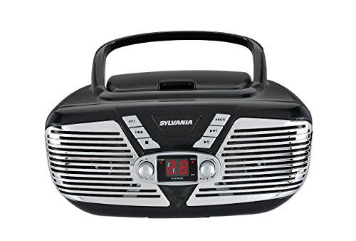 Sylvania Portable CD Boombox with AM/FM Radio, Retro Style, (Black)