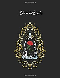 SketchBook: Disney Beauty And The Beast Enchanted Rose Logo Large Notebook for Unlined Sketch Note Marble Size 8.5in x 11i...