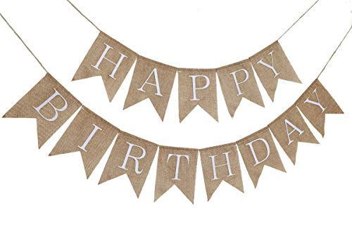 Rustic Happy Birthday Burlap Banner Bunting Garland Swallowtail Flags for Birthday Party Decorationsby Ucity (White)
