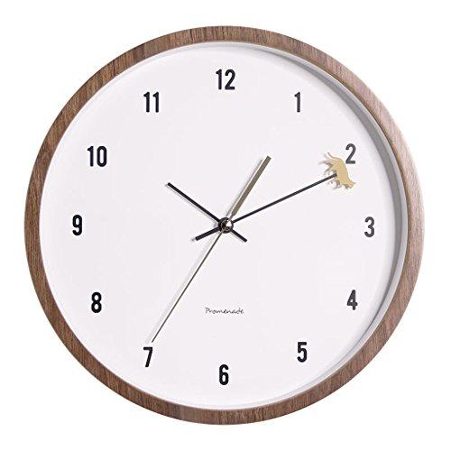 Reloj de pared silencioso Reloj de pared de doble capa de madera de estilo europeo, reloj de dormitorio de pared redondo de una cara, reloj de movimiento de temperatura de humedad de POM, reloj de mes