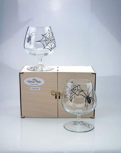Victoria Bella - Snifters de coñac pintados a mano (2 unidades, 430 ml), diseño de araña