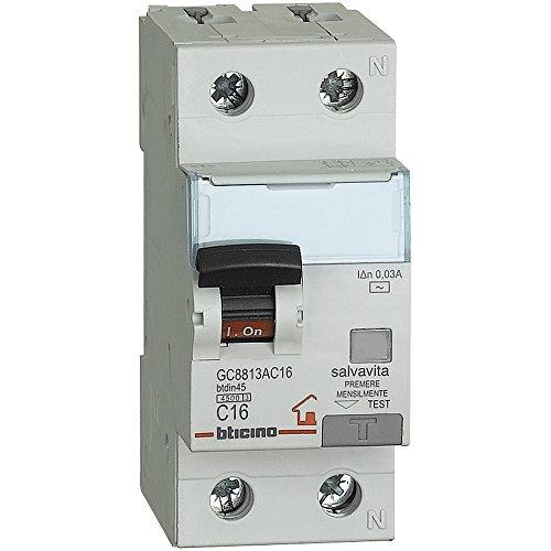 BTicino GC8813AC16 BTDIN Interruttore Magnetotermico Differenziale, 1P+N, 4.5 kA, Idn = 0.03 A, In = 16 A