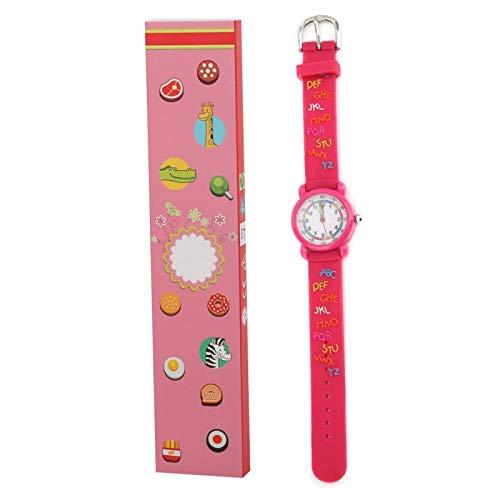 Reloj digital, reloj de pulsera con diseños a prueba de agua, la escala del dial es un material ecológico(Letter plastic shell rose red)