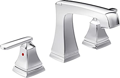 Delta Faucet Ashlyn Widespread Bathroom Faucet Chrome, Bathroom Faucet 3 Hole, Diamond Seal Technology, Metal Drain Assembly, Chrome 3564-MPU-DST