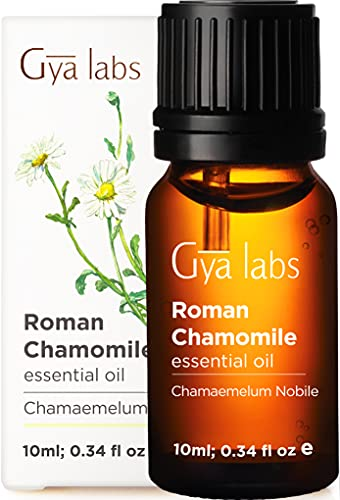 Gya Labs Roman Chamomile Essential Oil for Stress Relief, Sleep and Relaxation - Topical Use for Sensitive Skin and Nausea Relief - Therapeutic Grade Chamomile Oil for Aromatherapy - 10ml