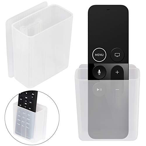 Paquete de 2 soportes universales para mando a distancia, organizador de medios de montaje en pared, caja de almacenamiento autoadhesiva, accesorios de oficina
