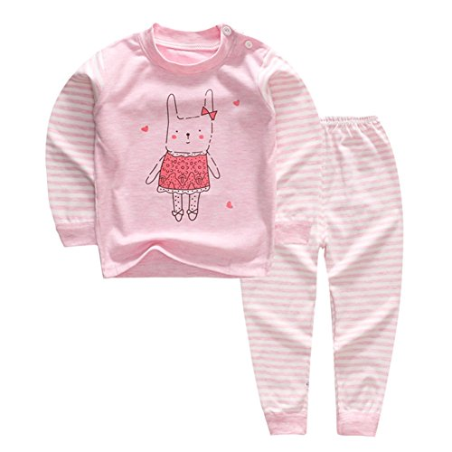 YANWANG 100% Cotone delle Ragazze dei Neonati Pajamas Set Manica Lunga Sleepwear (6M-5Anni) (Tag50 (6-12 Mesi), Reticolo 3)