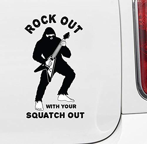 Wall Art CLR: CAR - Sasquatch - Rock Out met uw Squatch Out - Bigfoot Gitaar Solo - Vinyl Auto Sticker o. Eenvoudig aan te brengen.