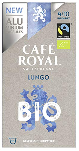 Café Royal Lungo Bio/Organic Capsules en Aluminium Compatibles avec le Système Nespresso (R)*; Intensité: 4/10 - Lot de 10 X 10 (50 x 10 = 500g)