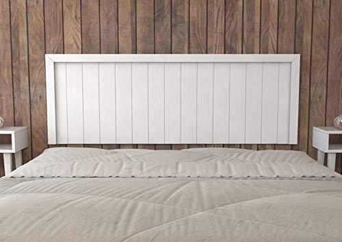 LA WEB DEL COLCHON - Cabecero de Madera Rústico Véneto para Cama de 150 (160 x 55 cms) Blanco nórdico | Cabeceros Madera | Dormitorio Matrimonio | Cabezal Cama |Estilo nórdico