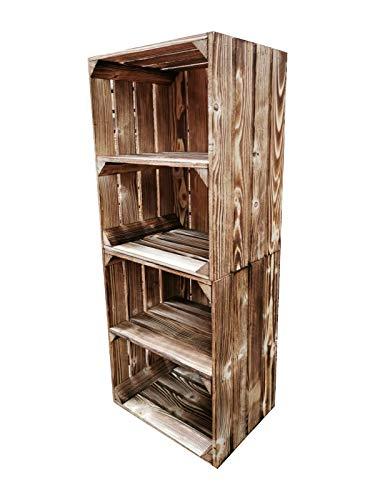 Teramico Holzkiste 50 x 40 x 30cm - Vintage-Look geflammt - Weinkiste Obstkiste Set Dekoration (2er Set, Ablage Kurz)