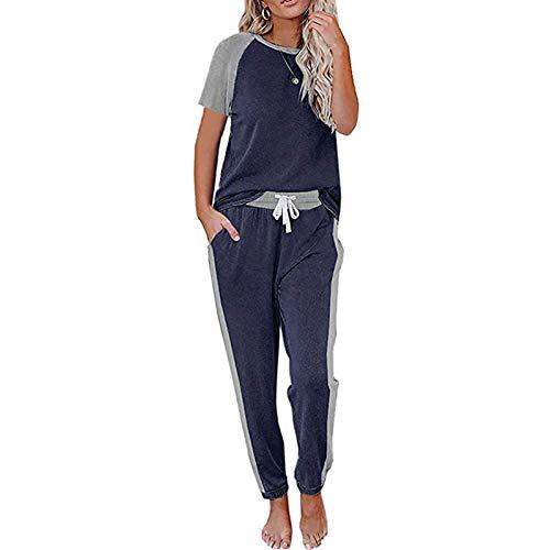 Loalirando Completo Sportivo Donna Tuta Donna Estiva Maglietta a Manica Corta + Pantaloni Sportivi con Elastico in Vita (Blu Scuro, XL)