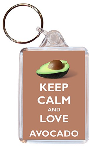 Keep Calm and Love Avocado - Double Sided Large Keyring Key Ring Fob Chain Name Tag Souvenir/Gift/Present