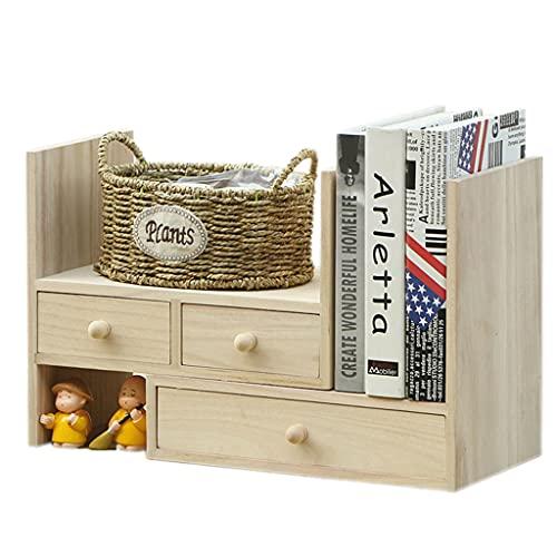 Schreibtisch Aufbewahrungsbox Aus Massivem Holz Schreibtischregal Kreatives Schubladen Kombinations Bücherregal Separates Kollokationsdesign (Color : Wood Color, Size : 34×20×29cm)