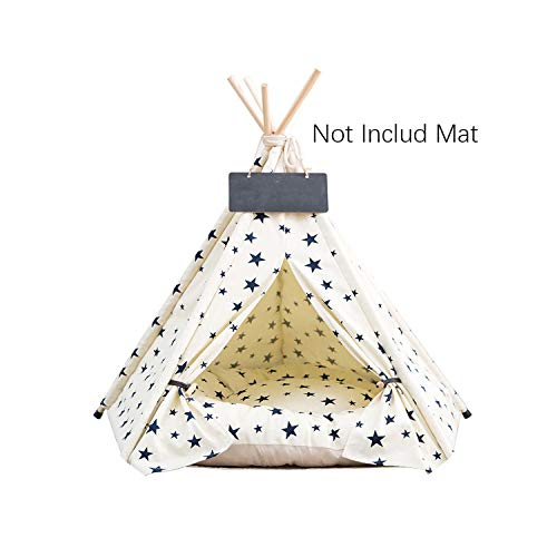 Pet Teepee Tent Dog Cat Toy House Portable Washable Pet Bed Star Pattern Not Contain Mat,01,40x40x50cm
