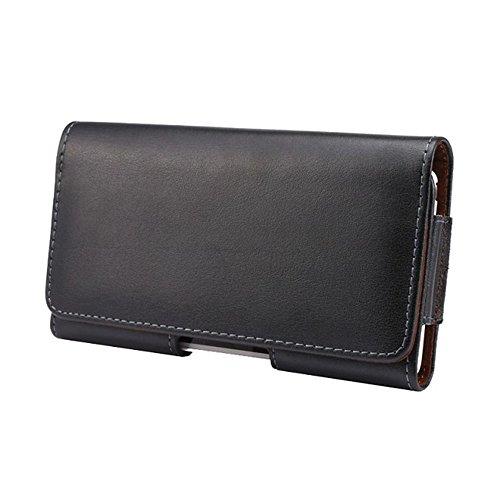 Ambaiyi Schwarz Genuine Echt Leder Tasche Ledergürtel Clip Schale Gürtelclip Halfter Hülle Gürteltasche für Lumia 830 535 640 650 950 Moto G2 G3 X2 BlackBerry Z30 Leap LG G2 G3 G4c G4s ….