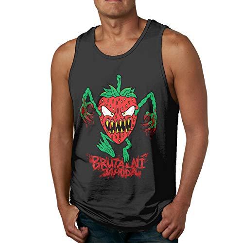 Preisvergleich Produktbild MASKMAN Strawberry Men's Tank Top Sleeveless Tees Sports T Shirt Fitness(L, Black)