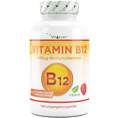Vitamin B12 Depot mit 365 Lutschtabletten - Aktives Methylcobalamin - Methyl Tabletten mit Himbeergeschmack - Laborgeprüft - Vegan - Hochdosiert