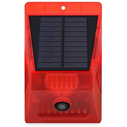 Delaspe Mit Fernblitzlicht, Bewegungsmelder-Sicherheitsalarmlicht, Solarwarnlicht, akustischem Alarm, geeignet für Garten, Bauernhof, Baustelle