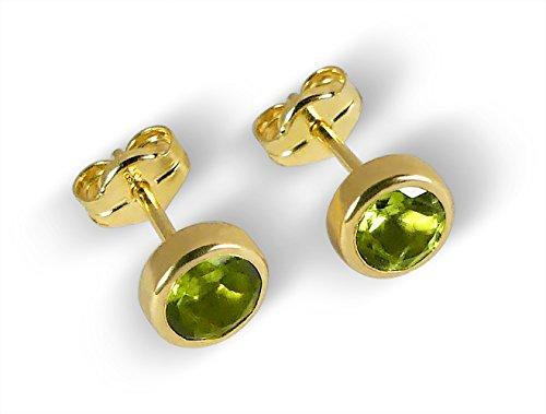 Ohrstecker mit Peridot 5,5mm echt 585 Gold Gelbgold 14 Karat