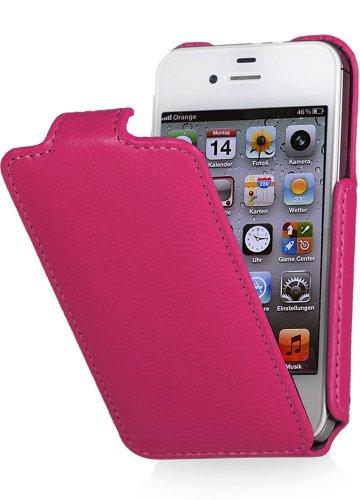 Preisvergleich Produktbild StilGut vertikales Flip-Case kompatibel mit iPhone 4 / iPhone 4s,  Rosa