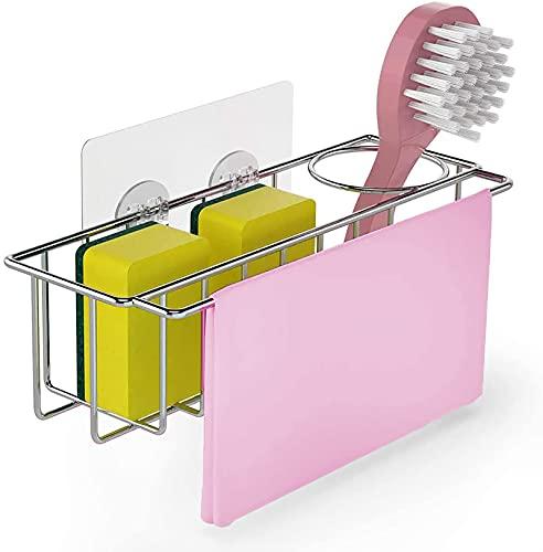 LJM Soporte de Esponja para Fregadero de Cocina, 3 en 1, dispensador de Soporte de Cepillo de Trapo de Esponja Adhesivo, Organizador de lavavajillas, Rejillas para escurridores, Acero Inoxidab