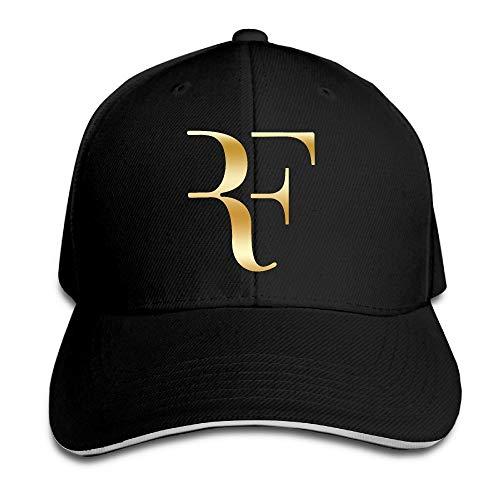 Pimkly Unisex Cappellini da Baseball Roger Federer Gold Logo Flex Baseball Cap Black