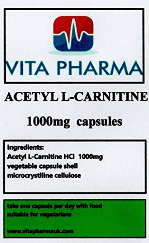 Acetyl L-CARNITINE (HIGH Strength) 1000mg, 30 Capsules, 1 Month Value Pack, take one a Day, by VITA PHARMA, Order Now for Fast delivery