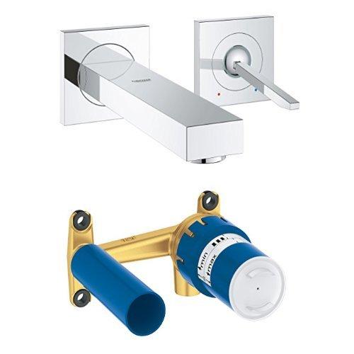 GROHE Eurocube Joy Bundle | Waschtischarmatur 2 Löchern + Grohe Unterputz-Universal-Einbaukörper für 2-Loch Waschtischbatterie
