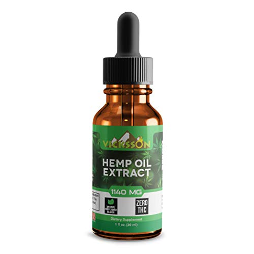 Vicksson Organic Hemp Oil Drops 1000 mg (+140 mg) – Hemp Seed Extract for Pain, Anxiety & Stress Relief with MCT Fatty Acids – Sleep, Mood, Anti-inflammatory, Joint, Skin, Hair Support Supplement Oil