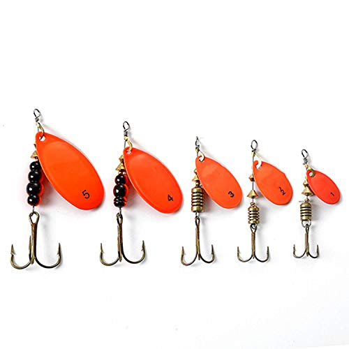 3Pcs Spinner Bait Metal Fishing Lure Bass Hard Baits Spoon with Copper Treble Hook Hard Lures Fishing Tackle,Orange,3Pcs-Size 1