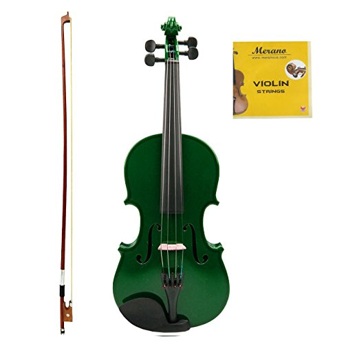 Merano MV100 Student Violin with Hard Case, Bow, Rosin and Extra Strings (1/8, Green)