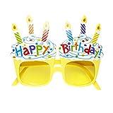 Widmann 0346N – Brille Happy Birthday, gelb, mit Kerzen und Kuchenmotiv, Accessoire,...