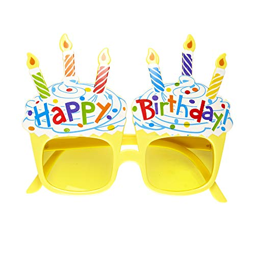 Widmann 0346N – Brille Happy Birthday, gelb, mit Kerzen und Kuchenmotiv, Accessoire, Geburtstagszubehör, Kinderfest, Karneval