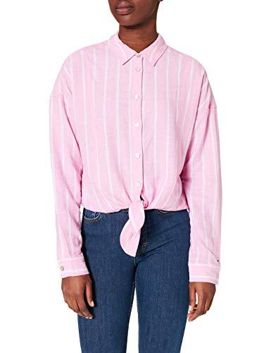 Tommy Jeans TJW Relaxed Front Knot Shirt Camisa, Margarita rosa/rayas, L para Mujer