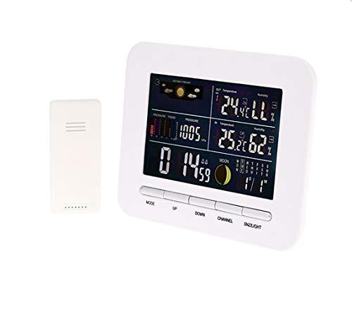 Draadloos weerstation, wekker, multifunctioneel, touchscreen, barometer, binnen- en buitentemperatuur en hygrometer, voor slaapkamer