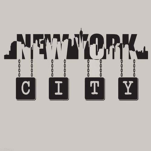 AGiuoo Calcomanía de Vinilo con Cita de Pared del Horizonte de la Ciudad de Nueva York 83x42cm