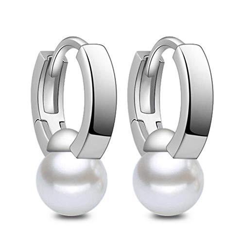 XUFAN Pendientes de Plata Pendientes Femeninos Elegantes con Perlas Blancas, utilizadas para la Moda de Las Mujeres joyería Pendientes Mujer Plata (Color : Silver)