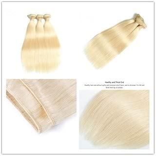 DaJun Blonde Hair Bundles Platinum Blond Hair Weave #613 Natural Straight wefts 300g/pc #1b/613 100% Brazilian Remy Human Hair Extensions 16