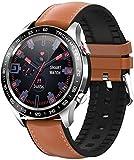 Reloj inteligente para hombre y negocios, monitor de presión arterial, modo multideportivo, resistente al agua, pulsera de fitness para mujer, color negro y plateado