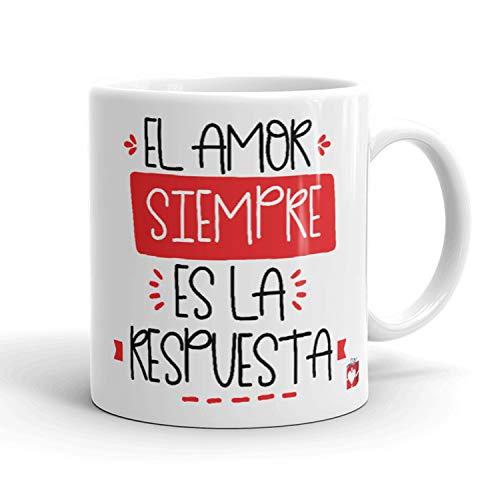Kembilove Taza Desayuno para Parejas – Tazas Originales con Mensaje El amor siempre es la respuesta – Taza de Café y Té para Madres – Tazas de Regalo para el día de San Valentín